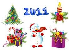 Vector het pictogramreeks van de Kerstmisdecoratie Royalty-vrije Stock Fotografie