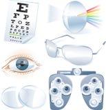 Vector het pictogramreeks van de oftalmologie vector illustratie