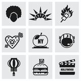 Vector het pictogramreeks van de V.S. Royalty-vrije Stock Afbeeldingen
