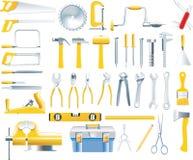 Vector het pictogramreeks van schrijnwerkerhulpmiddelen Stock Foto