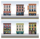 Vector het pictogramreeks van stadsgebouwen Royalty-vrije Stock Afbeelding