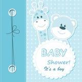 Vector het plakboekkaart van de babyjongen Stock Afbeeldingen