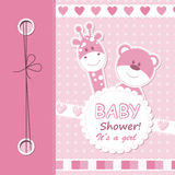 Vector het plakboekkaart van het babymeisje Stock Fotografie