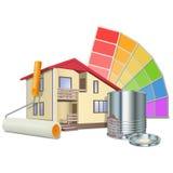 Vector het Schilderen Concept met Huis royalty-vrije illustratie