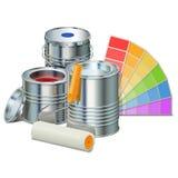 Vector het Schilderen Concept met Verven Stock Foto