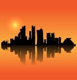 Vector het silhouethorizon van Doha Stock Afbeelding