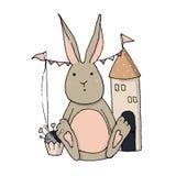 Vector het stuk speelgoed van het konijntjeskonijn krabbelillustratie stock illustratie
