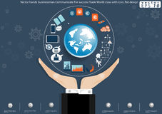 Vector het succeshandel van Communicate For van de handenzakenman Van wereldklasse met pictogram vlak ontwerp Stock Afbeeldingen