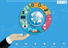 Vector het succeshandel van Communicate For van de handenzakenman Van wereldklasse met pictogram vlak ontwerp Royalty-vrije Stock Foto's