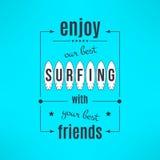 Vector het surfen lessenaffiche met het van letters voorzien ontwerp Stock Fotografie