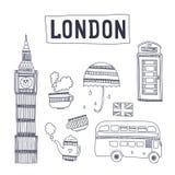 Vector het toerismeaantrekkelijkheden en symbolen van Londen Royalty-vrije Stock Fotografie