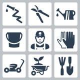 Vector het tuinieren geplaatste pictogrammen Royalty-vrije Stock Afbeeldingen