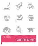 Vector het tuinieren pictogramreeks Royalty-vrije Stock Afbeelding