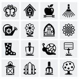Vector het tuinieren pictogramreeks Stock Afbeeldingen