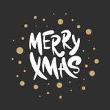 Vector het van letters voorzien Vrolijke Kerstmis van de illustratieuitdrukking voor affiches, decoratie, kaart, t-shirts en druk stock illustratie