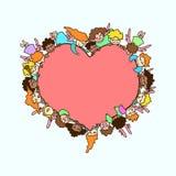 Vector het vliegen engelen en cupido's rond roze hart De kaart van de groet vector illustratie
