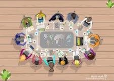 Vector het werkruimte voor commerciële vergaderingen en brainstorming Het Concept en het Webbanners van het analyseplan, drukmedi vector illustratie