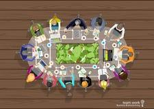 Vector het werkruimte voor commerciële vergaderingen en brainstorming Het Concept en het Webbanners van het analyseplan, drukmedi Stock Foto