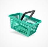 Vector het winkelen groene mand Royalty-vrije Stock Foto