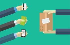 Vector het winkelen pictogrammen in vlakke stijl Diverse betalingsmethodes de orde, betaalt, levert Royalty-vrije Stock Foto