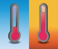 Vector hete en koude thermometer twee Stock Foto's