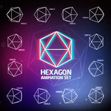 Vector Hexagon Animation Set Royalty Free Stock Image