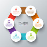 Vector hexagon with circles for infographic. Royalty Free Stock Images