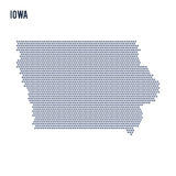 Vector hexagon map of State of Iowa on a white background Royalty Free Stock Image