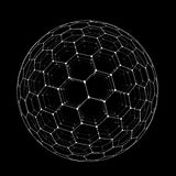 Vector hexagonal grid buckyball sphere isolated on black background vector illustration