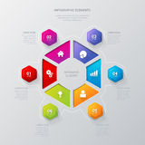 Vector hexagonal sectors infographic template background Stock Photography