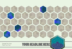 Vector: hexagons with horizontal continuous pattern Stock Images