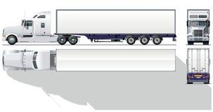 Vector hi-detailed commercial semi-truck stock illustration
