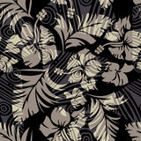 Vector hibiscus on black Royalty Free Stock Photography
