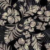 Vector hibiscus op zwarte Royalty-vrije Stock Fotografie