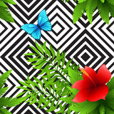 Vector hibiscus and palm leaves tropical pattern Royalty Free Stock Images