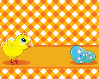 Vector сhicken and painted eggs on a checkered background. Easte Stock Image