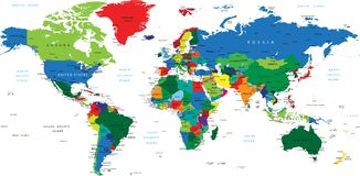 Vector High Detail color map of the World Royalty Free Stock Photos