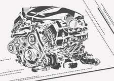 Vector high detailed illustration of abstract engine Royalty Free Stock Photography