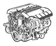 Vector high detailed illustration of abstract engine Royalty Free Stock Images