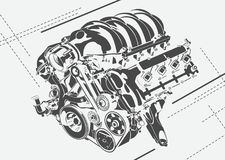 Vector high detailed illustration of abstract engine Royalty Free Stock Image