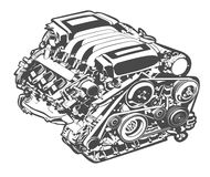 Vector high detailed illustration of abstract engine Stock Photos