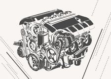 Vector high detailed illustration of abstract engine Stock Image