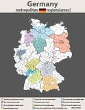 Vector high detailed map of Germany metropolitan regions areas Stock Photos