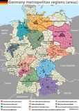 Vector high detailed map of Germany metropolitan regions areas Stock Images