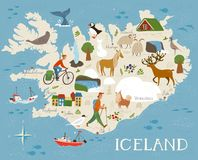 Vector high detailed vector map of Iceland with animals and landscapes. Animals of north.