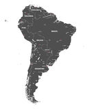 Vector high detailed map of South America. All layers detached and labeled. Stock Photos