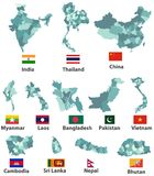 Vector high detailed maps and flags of east asian countries with administrative divisions regions borders. Vector high detailed maps and flags of east asian Vector Illustration