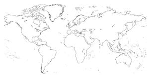 Vector high detailed outline of world map Royalty Free Stock Photo