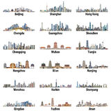Vector high detailed set of chinese largest city skylines isolated on white background Stock Photos