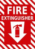 Vector fire extinguisher red sign with icon and arrow. Vector high quality fire extinguisher red sign with icon and arrow - official international version royalty free illustration